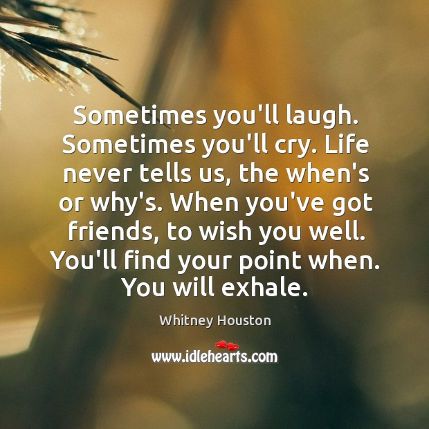 Sometimes you'll laugh. Sometimes you'll cry. Life never tells us, the when's Whitney Houston Picture Quote