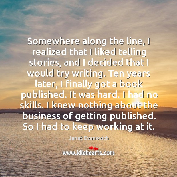 Somewhere along the line, I realized that I liked telling stories, and I decided that I would try writing. Image