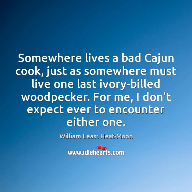 Somewhere lives a bad Cajun cook, just as somewhere must live one William Least Heat-Moon Picture Quote