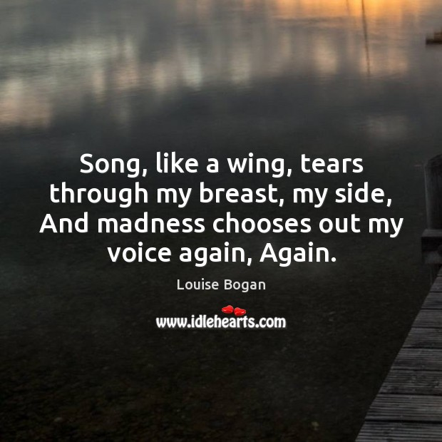 Song, like a wing, tears through my breast, my side, And madness Louise Bogan Picture Quote