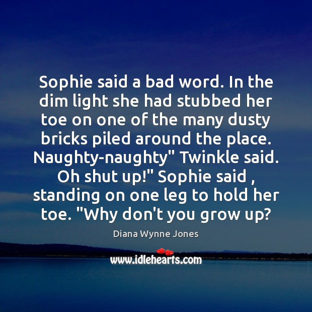 Image, Sophie said a bad word. In the dim light she had stubbed