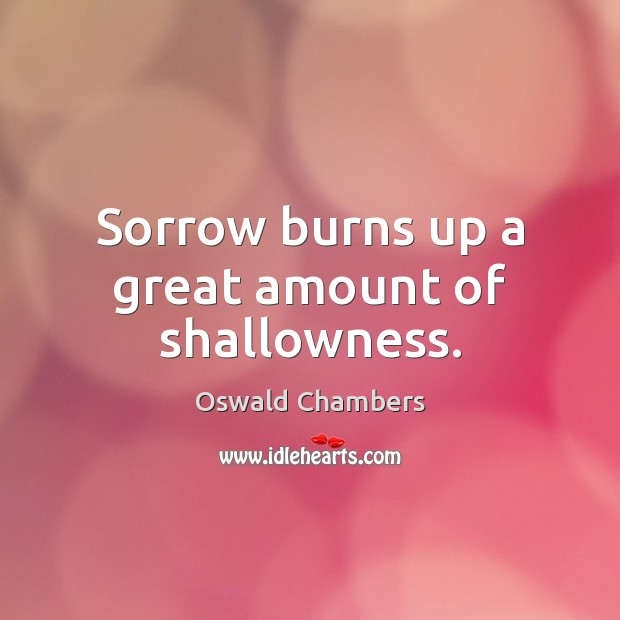 Sorrow burns up a great amount of shallowness. Image