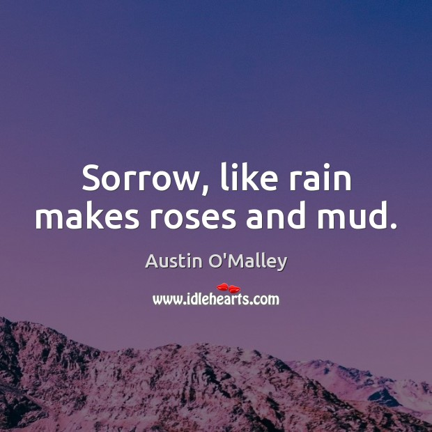 Image, Sorrow, like rain makes roses and mud.