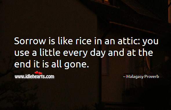 Sorrow is like rice in an attic: you use a little every day and at the end it is all gone. Malagasy Proverbs Image