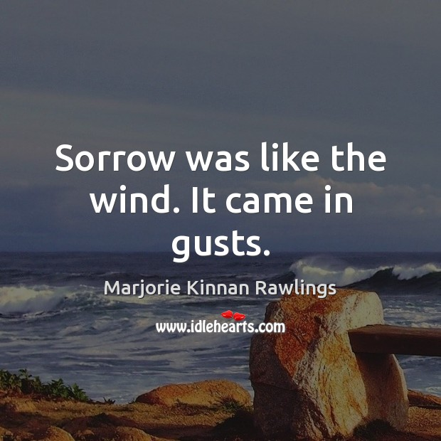 Sorrow was like the wind. It came in gusts. Marjorie Kinnan Rawlings Picture Quote