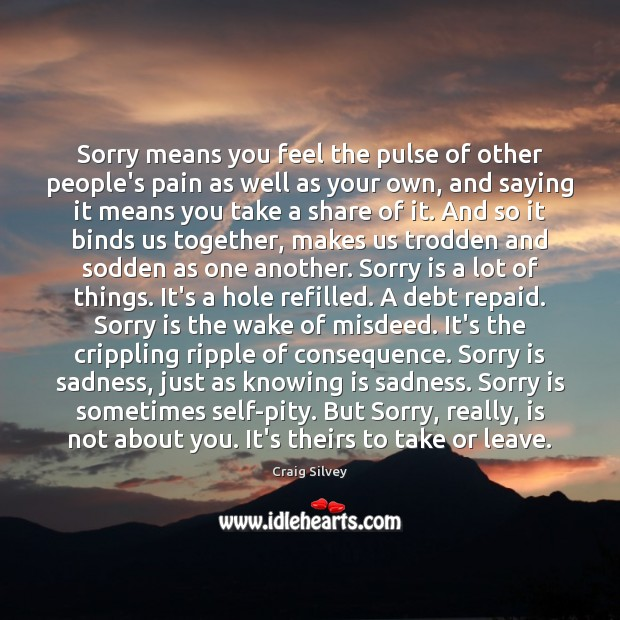 Sorry means you feel the pulse of other people's pain as well Sorry Quotes Image