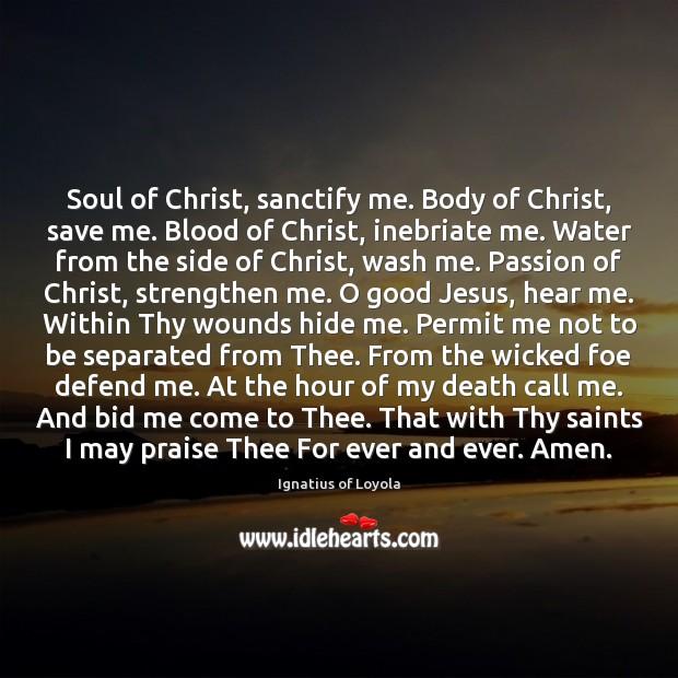 Soul of Christ, sanctify me. Body of Christ, save me. Blood of Image