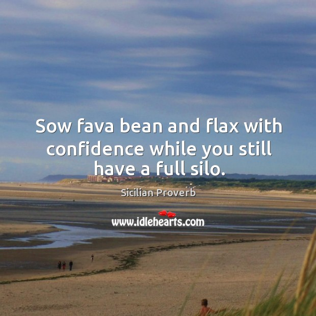 Sow fava bean and flax with confidence while you still have a full silo. Image