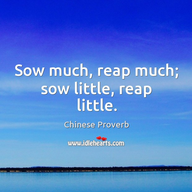 Image, Sow much, reap much; sow little, reap little.
