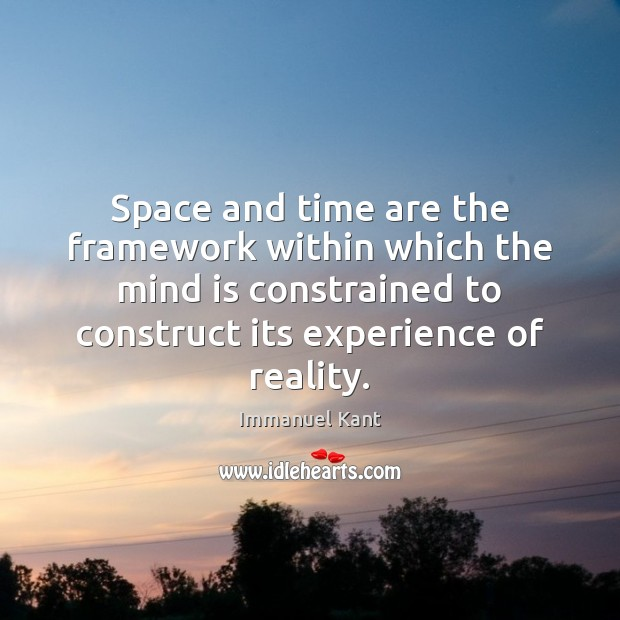Image, Space and time are the framework within which the mind is constrained