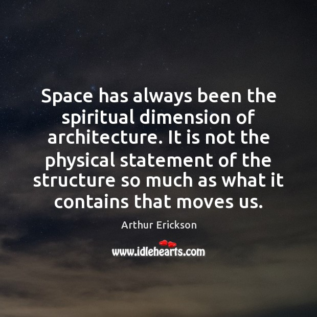 Image, Space has always been the spiritual dimension of architecture. It is not