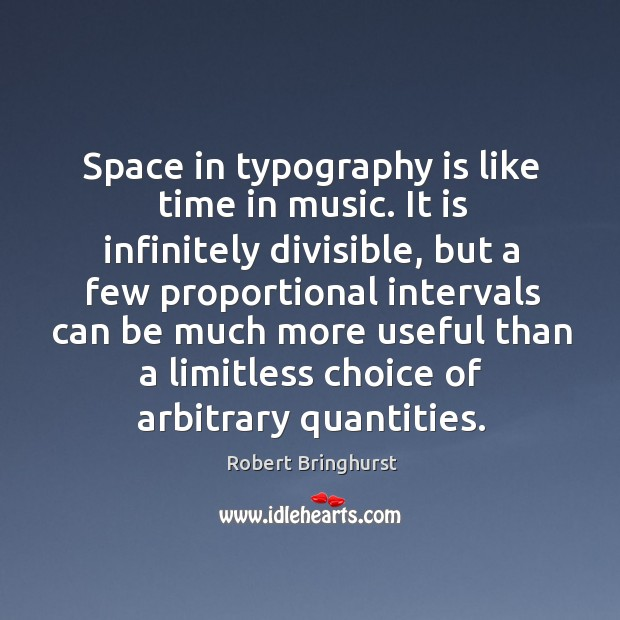 Space in typography is like time in music. It is infinitely divisible, Robert Bringhurst Picture Quote