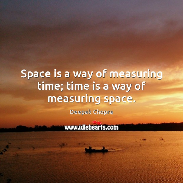 Space is a way of measuring time; time is a way of measuring space. Space Quotes Image