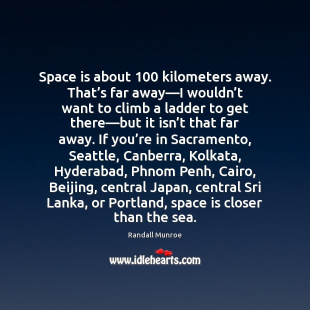 Space is about 100 kilometers away. That's far away—I wouldn't Image