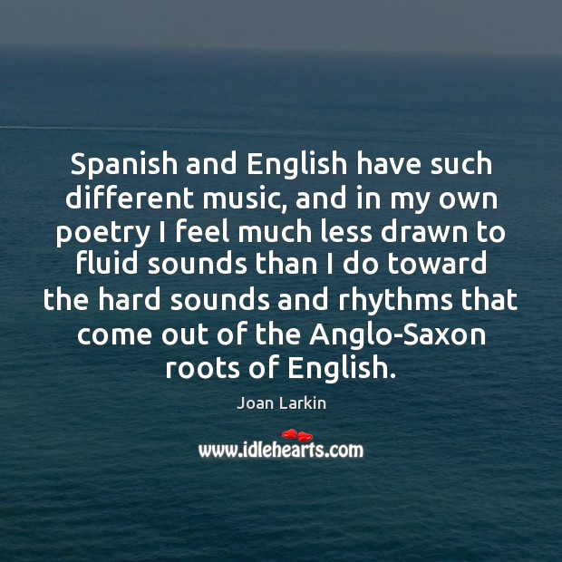 Image, Spanish and English have such different music, and in my own poetry