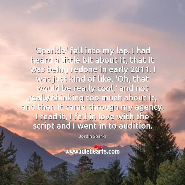 'Sparkle' fell into my lap. I had heard a little bit about Cool Quotes Image