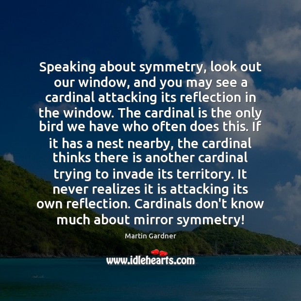 Speaking about symmetry, look out our window, and you may see a Martin Gardner Picture Quote