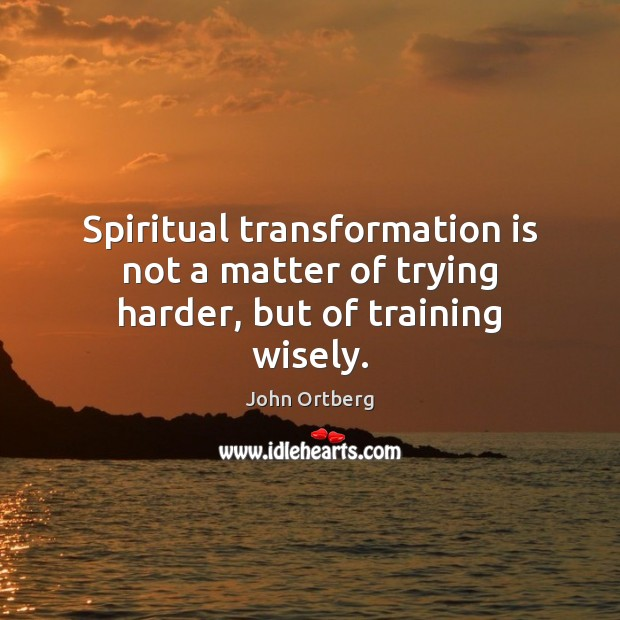 Spiritual transformation is not a matter of trying harder, but of training wisely. John Ortberg Picture Quote