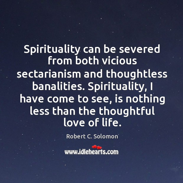 Spirituality can be severed from both vicious sectarianism and thoughtless banalities. Image