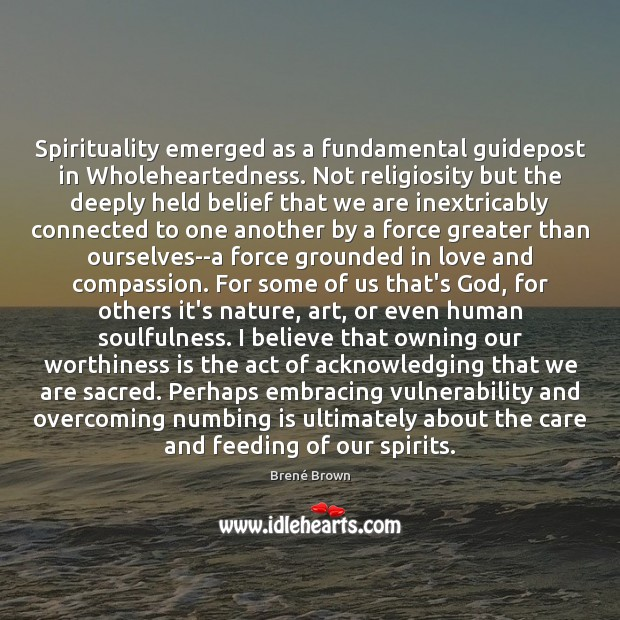 Image, Spirituality emerged as a fundamental guidepost in Wholeheartedness. Not religiosity but the