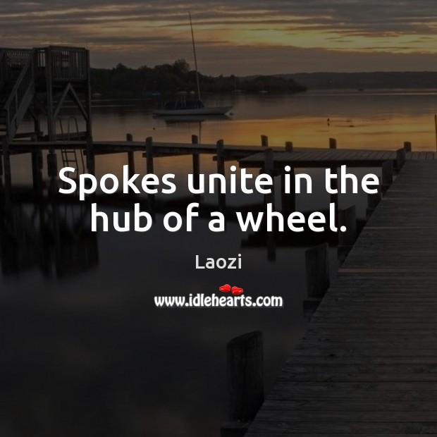 Image, Spokes unite in the hub of a wheel.