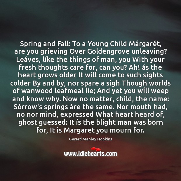 Spring and Fall: To a Young Child Márgarét, are you Image