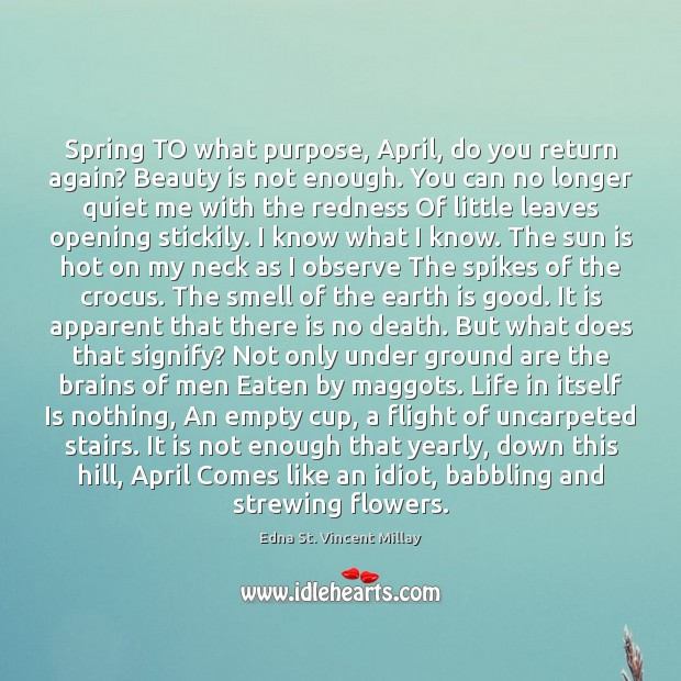 Spring TO what purpose, April, do you return again? Beauty is not Image