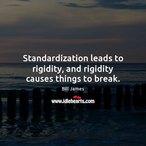 Standardization leads to rigidity, and rigidity causes things to break. Image
