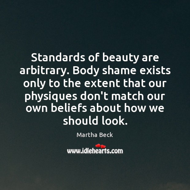 Image, Standards of beauty are arbitrary. Body shame exists only to the extent