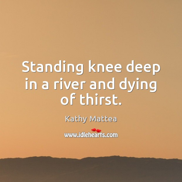 Standing knee deep in a river and dying of thirst. Kathy Mattea Picture Quote