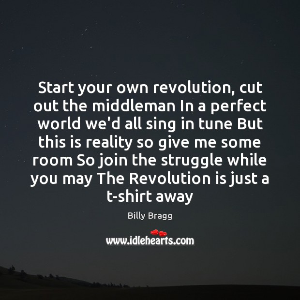 Start your own revolution, cut out the middleman In a perfect world Image