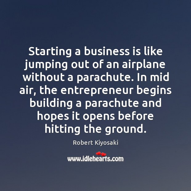 Image, Starting a business is like jumping out of an airplane without a