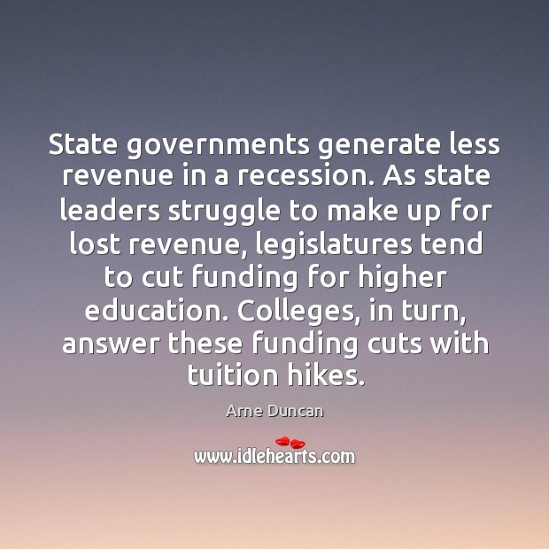 Image, State governments generate less revenue in a recession.