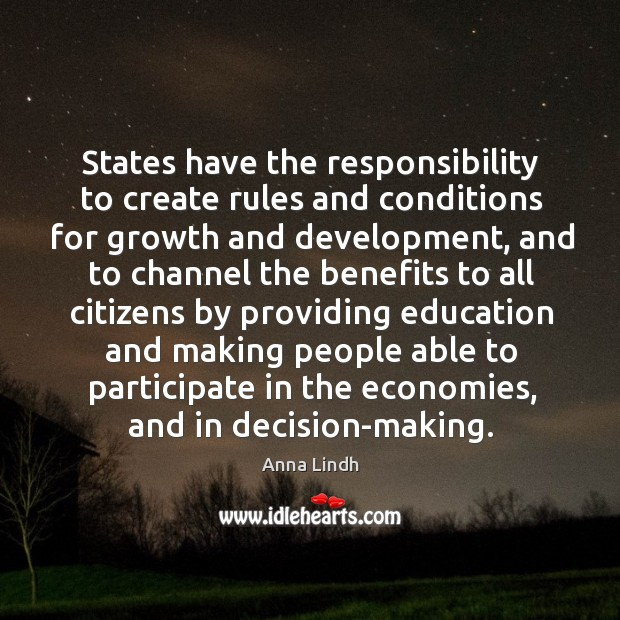 Image, States have the responsibility to create rules and conditions for growth and development