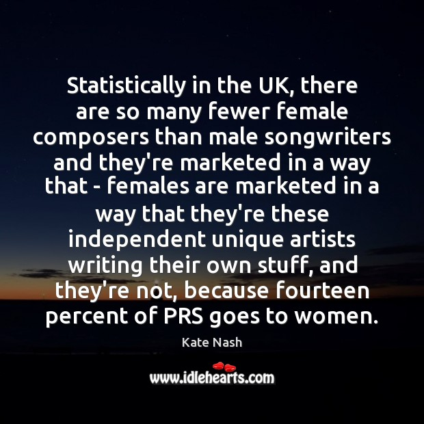 Statistically in the UK, there are so many fewer female composers than Image