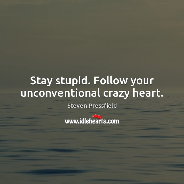 Stay stupid. Follow your unconventional crazy heart. Steven Pressfield Picture Quote