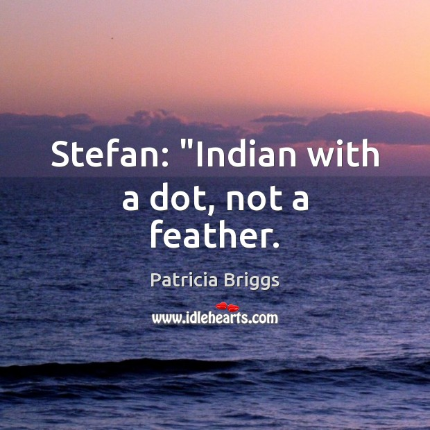 """Stefan: """"Indian with a dot, not a feather. Patricia Briggs Picture Quote"""