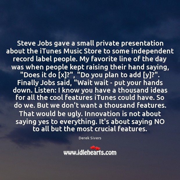 Steve Jobs gave a small private presentation about the iTunes Music Store Image