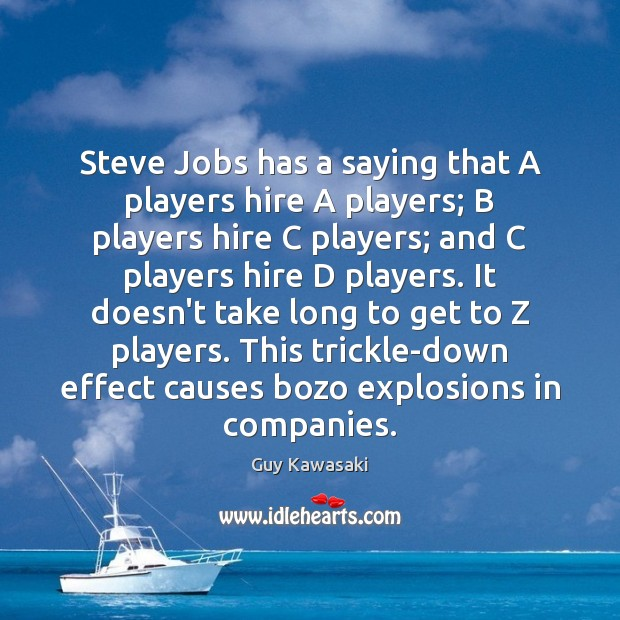 Steve Jobs has a saying that A players hire A players; B Image