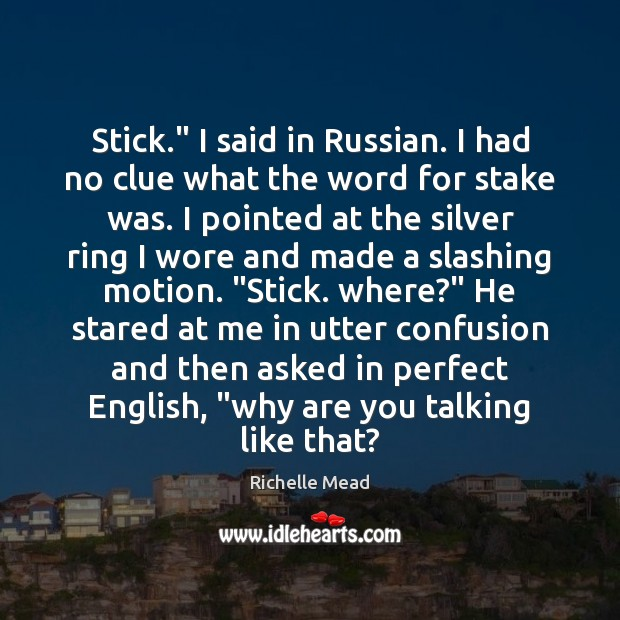 "Image, Stick."" I said in Russian. I had no clue what the word"