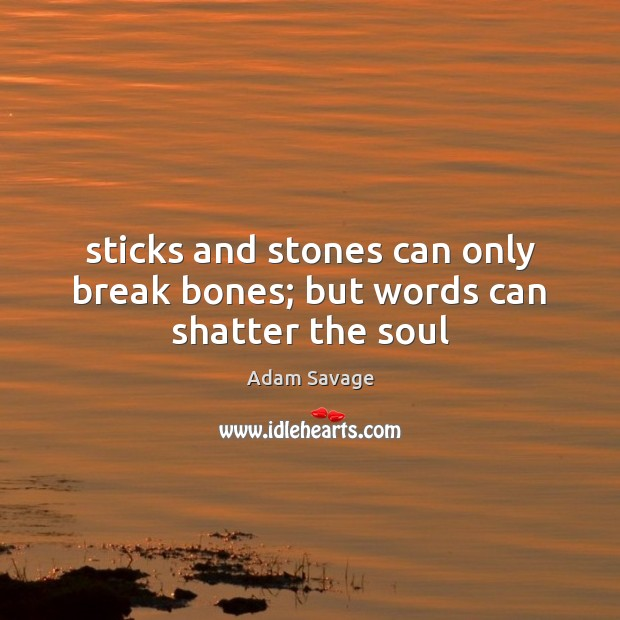 Sticks and stones can only break bones; but words can shatter the soul Image