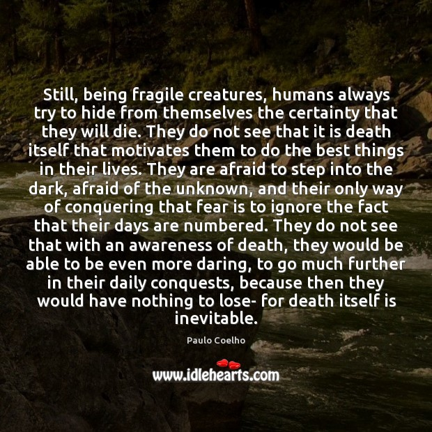 Image, Still, being fragile creatures, humans always try to hide from themselves the