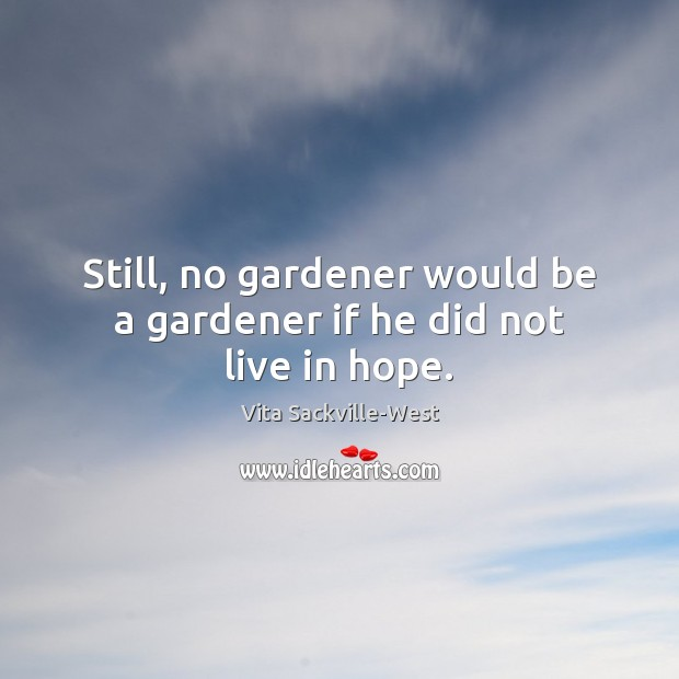 Still, no gardener would be a gardener if he did not live in hope. Vita Sackville-West Picture Quote