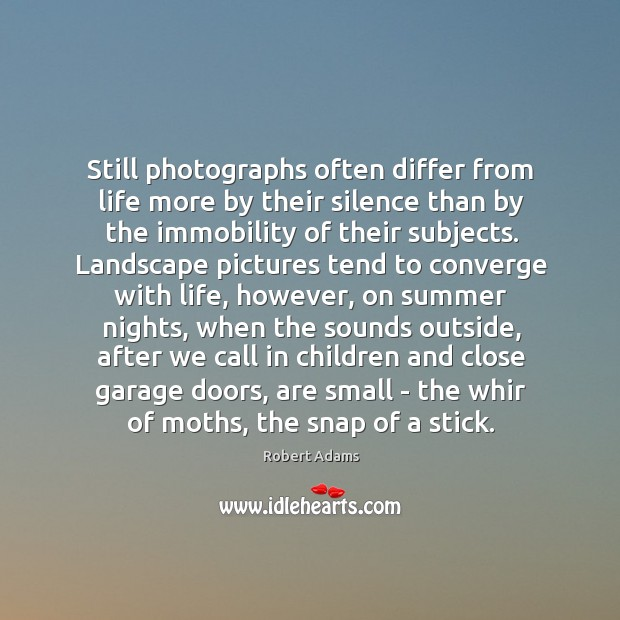 Still photographs often differ from life more by their silence than by Image
