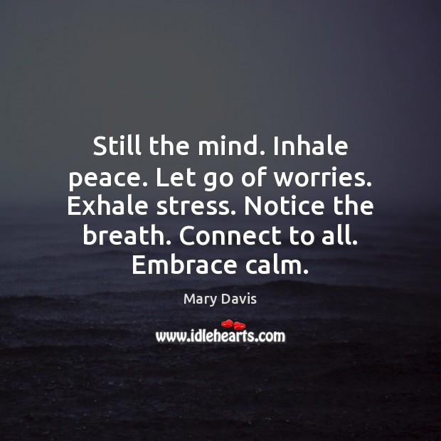 Still the mind. Inhale peace. Let go of worries. Exhale stress. Notice Image