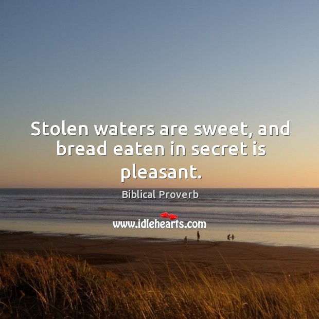 Stolen waters are sweet, and bread eaten in secret is pleasant. Biblical Proverbs Image