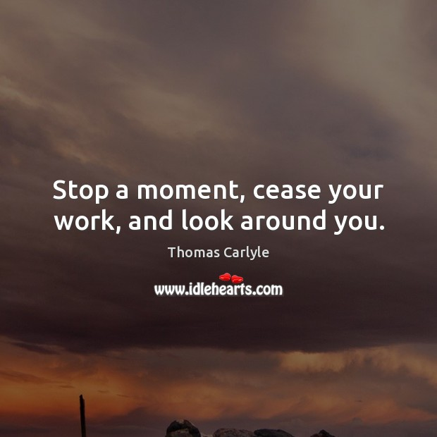 Stop a moment, cease your work, and look around you. Thomas Carlyle Picture Quote