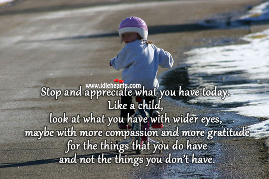 Image, Stop and appreciate what you have today.
