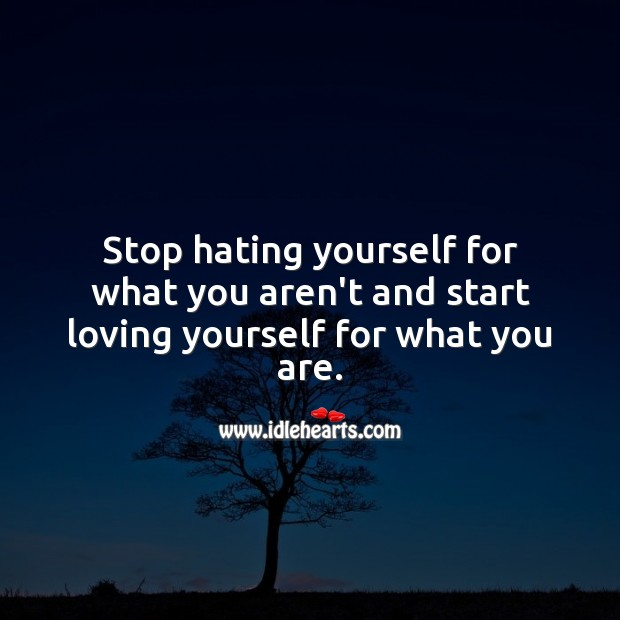 Stop hating yourself for what you aren't and start loving yourself for what you are. Hate Quotes Image