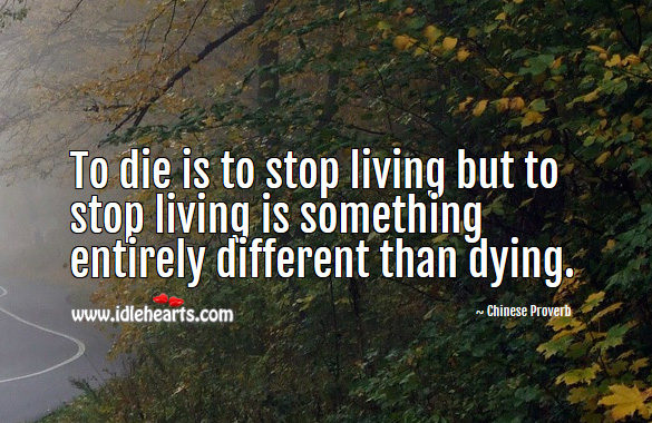 To die is to stop living but to stop living is something entirely different than dying. Chinese Proverbs Image
